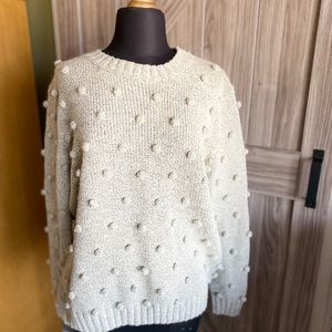 Women's Oatmeal colored tiny balls sweater